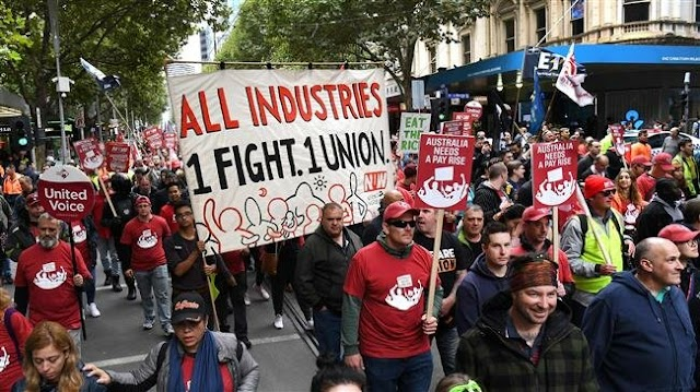 Tens of thousands of protesters call for higher wages in Australia