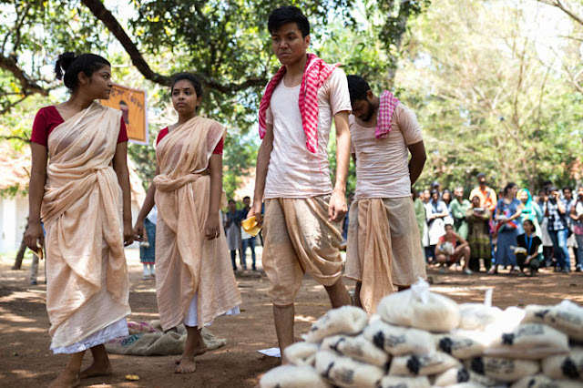Students from Indian College of Arts and Draftsmanship staging play titled 'Rice Mill' as part of ongoing KMB 2016 at Aspinwall House, Kochi
