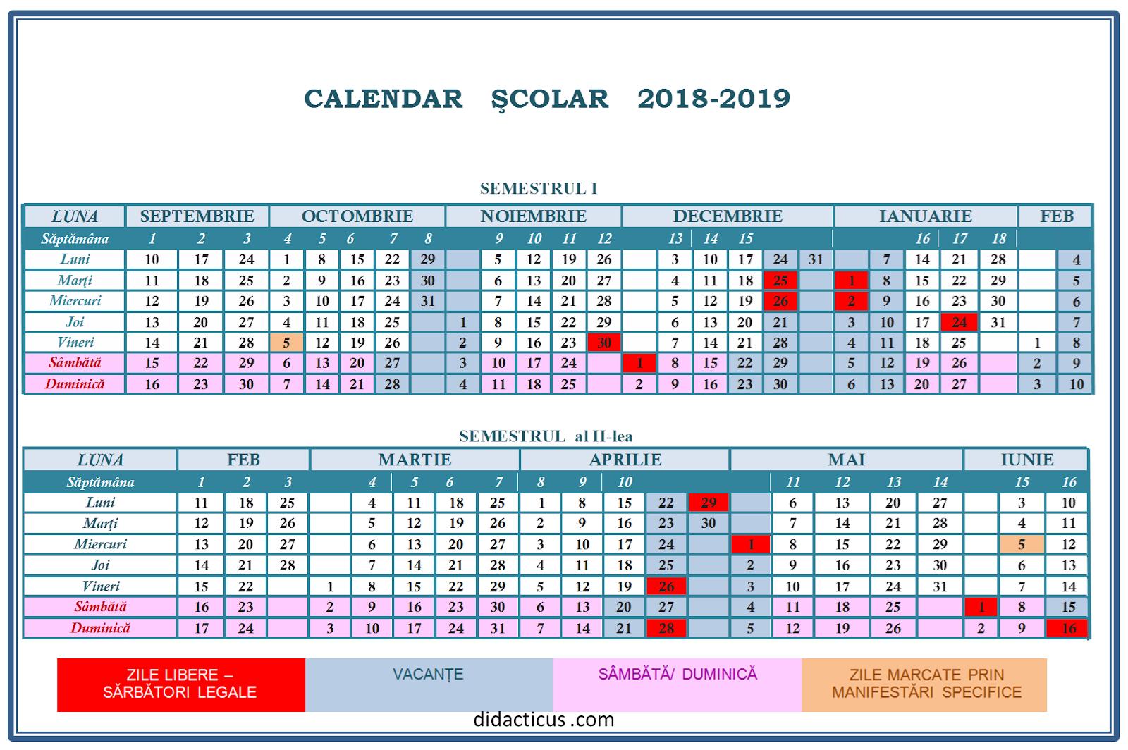 Structura anului școlar 2018-2019