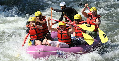 Adventure tourism in Chile, rafting in Futaleufu River.