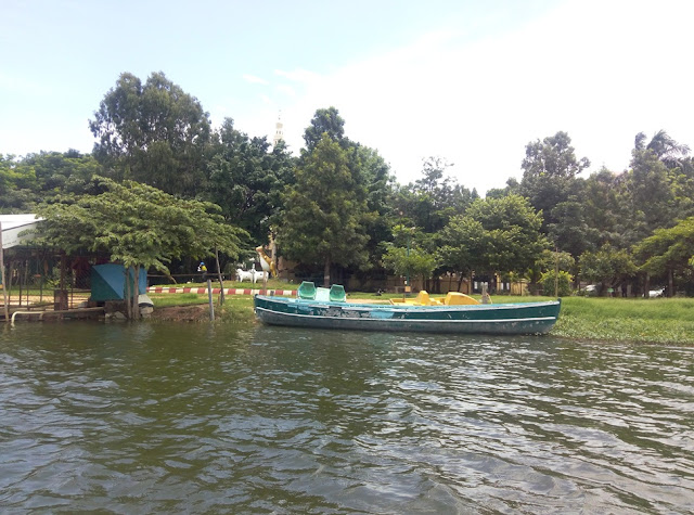 Large Bow Boat used to Clean the Lake by Forest Department