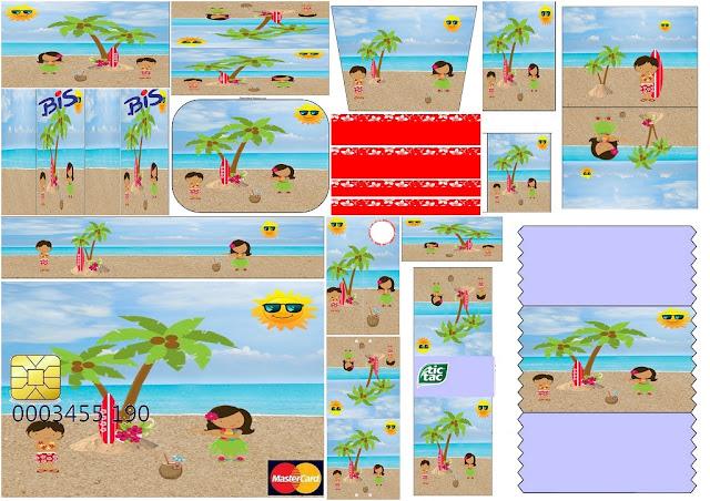 Fiesta Hawaiana de Chicas: Etiquetas para Candy Bar para Imprimir Gratis.