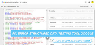 Memperbaiki Fix Error Structured Data Testing Tool Google