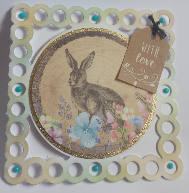"Hare in flowers 5"" square card - With Love"