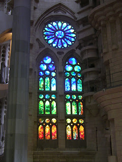Stained glass windows and pillar