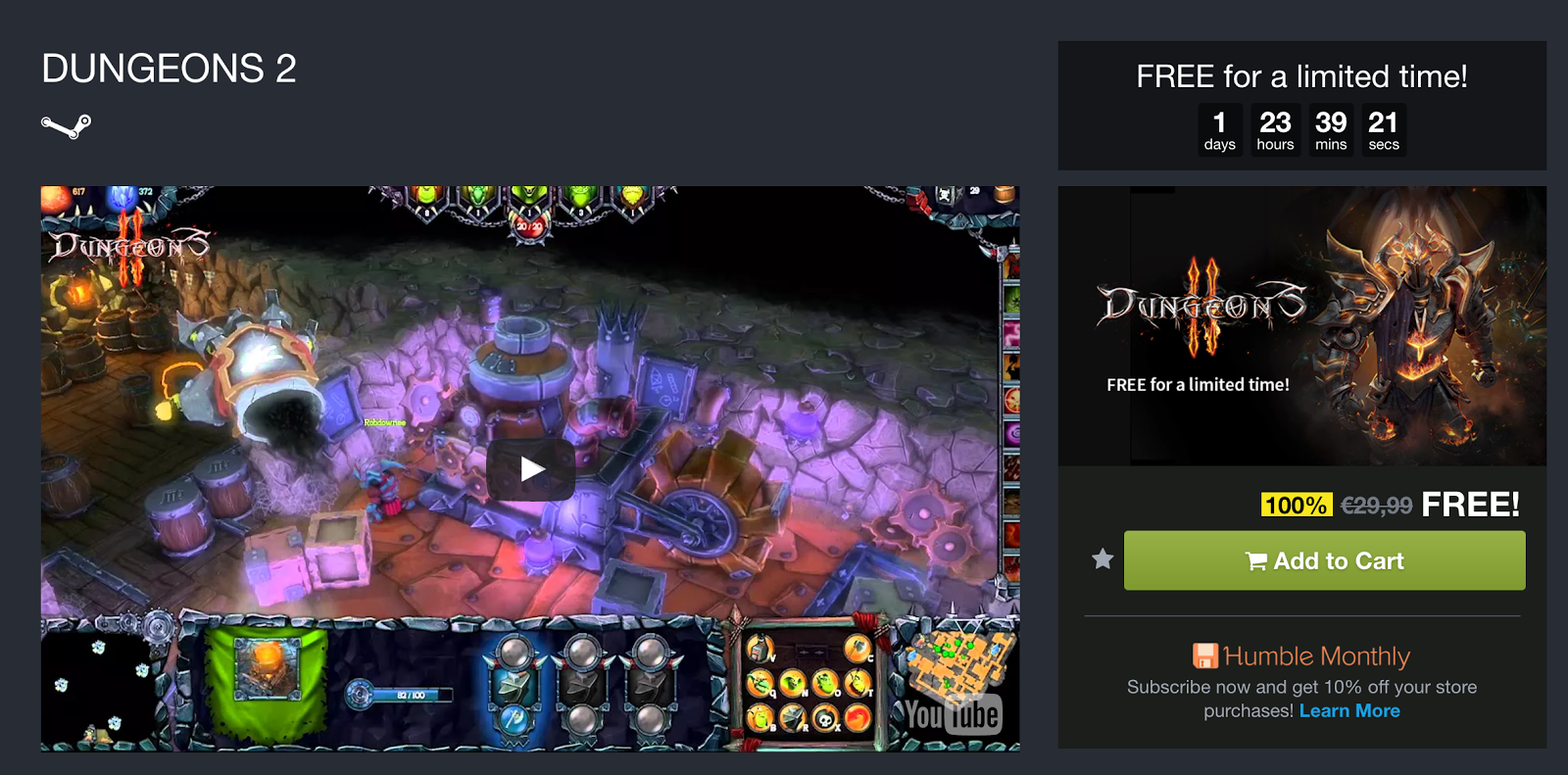 DUNGEONS II gratis para Steam