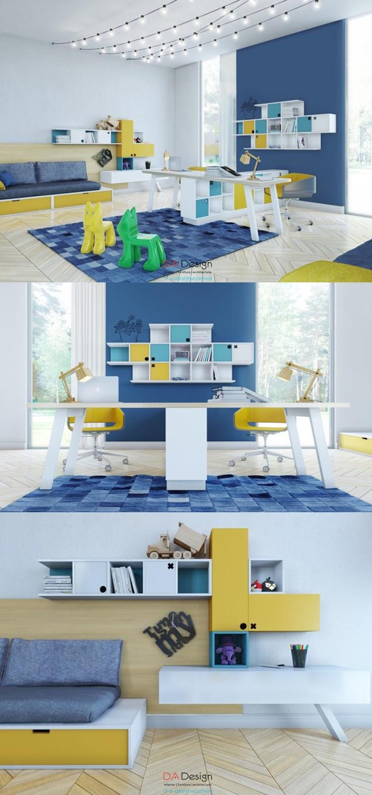 decoração de home office azul e amarelo