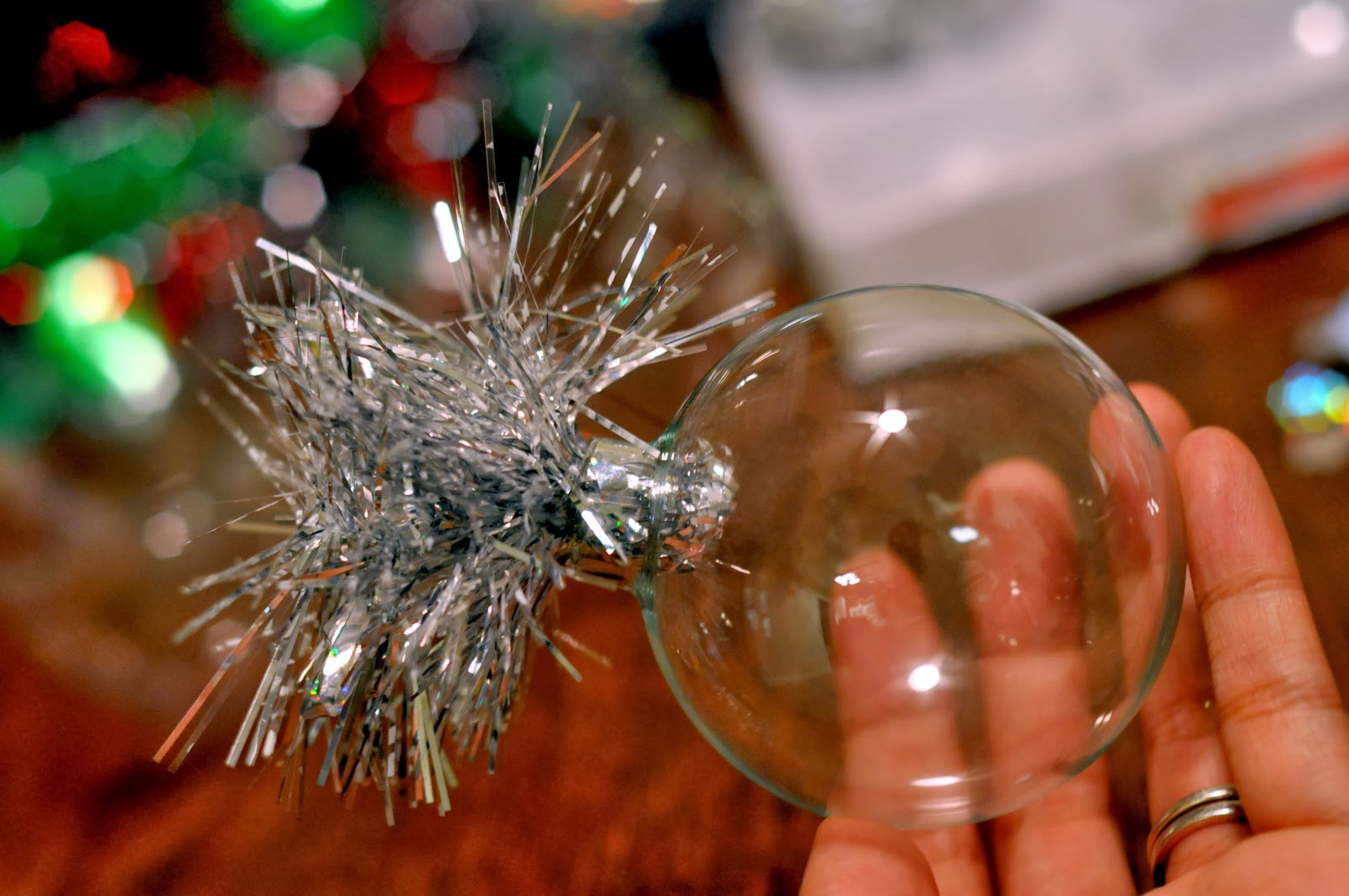 DIY Tinsel Christmas Ornaments | Taste As You Go