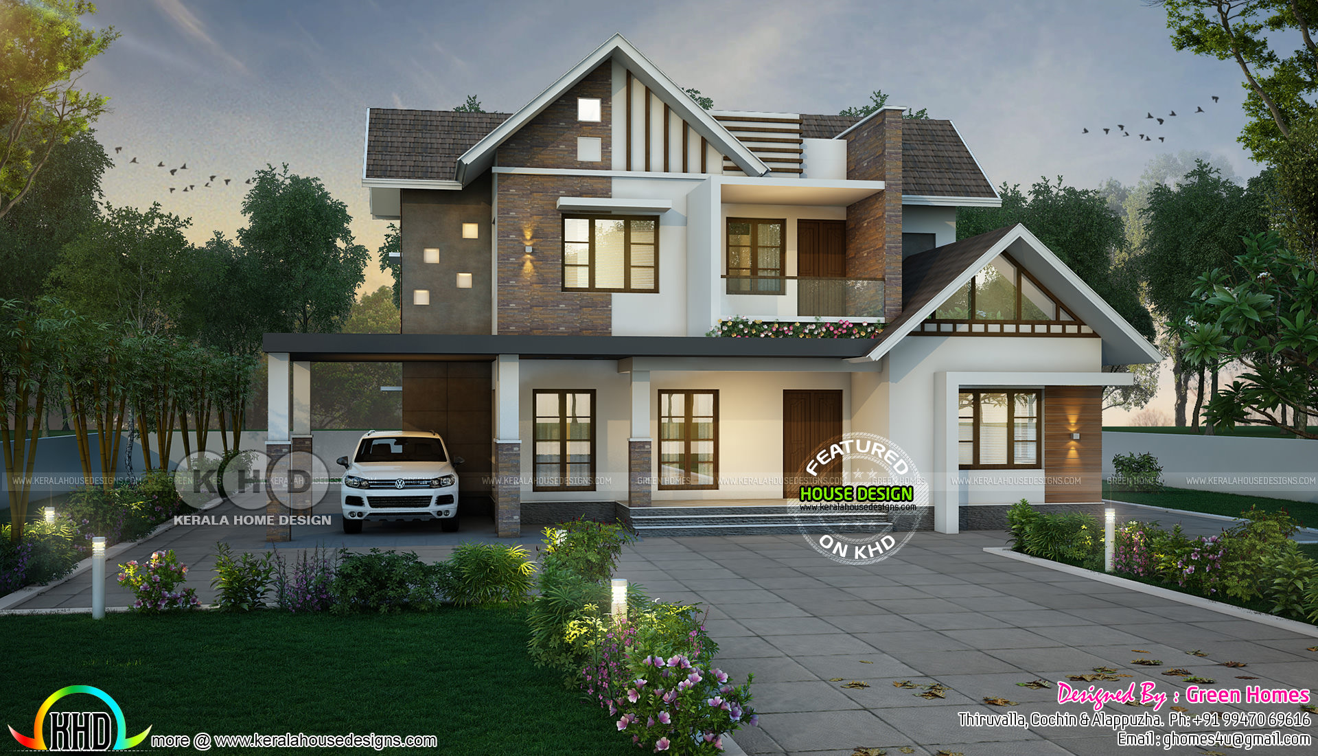 Sloping Roof Mix 4 Bedroom 3000 Sq Ft Home Kerala Home