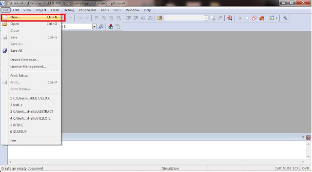 Creating New File in Keil uVision 4