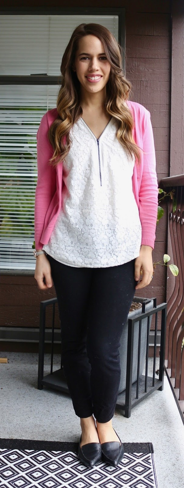 Jules in Flats - Lace Zip Front Tank and Pink Cardigan