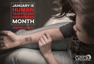 Photo of young girl with barcode on her arm. CalVCB logo. Text next to photo: January is Human Trafficking Awareness Month. victims.ca.gov.