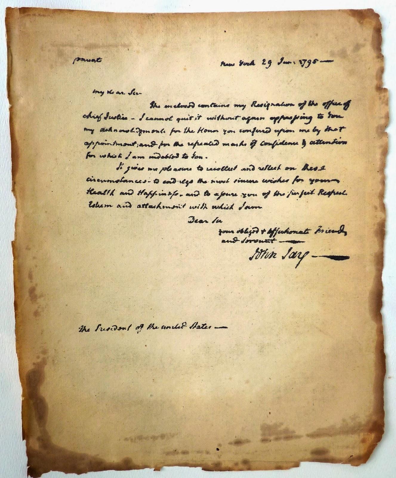 John Jay June 29th 1795 letter to