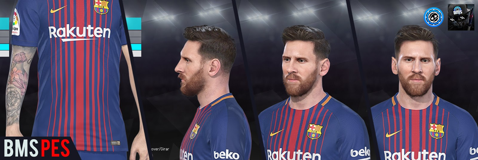 PES 2018 Barcelona Faces and Tattoos RePack by bmS