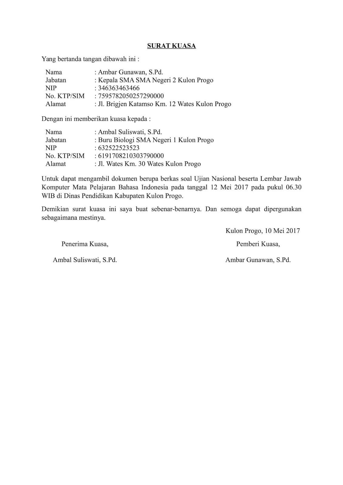 Contoh Surat Kuasa Pengambilan Dokumen Penting