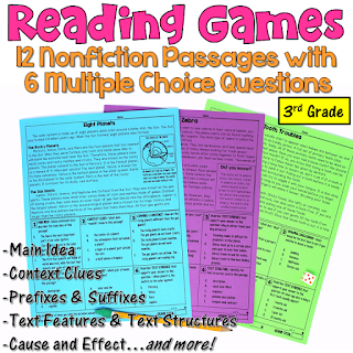 These reading games are perfect for test prep! This set includes 12 nonfiction passages written for 3rd grade students. After reading each passage, students answer 6 multiple choice questions. Reading skills include main idea, text features, text structures, context clues, prefixes, suffixes, drawing conclusions, and more!