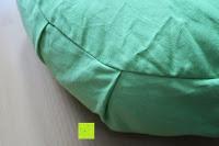 Seite grün: Yogakissen »Brahman« mit Reißverschluss & Bio-Dinkelspelz (kbA) Füllung - Maße: ca. 42 x 15 cm - ideal als Zafukissen / Meditationskissen / Rondokissen / Meditiationsunterlage :: waschbarer Bezug / hoher Sitzkomfort - hoher Sitz-Komfort dank Dinkelspelzfüllung / maschinenwaschbar & hautfreundlich. Ideale Hilfsmittel / Accessoire (Sitzkissen) für längere Meditationen. Material : 100% Baumwolle