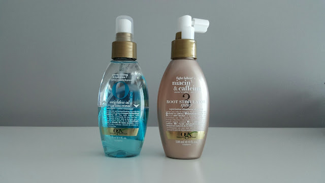 ogx hair products and review, ogx bamboo fiber-full shampoo and conditioner, ogx argan oil of morocco creamy hair butter, ogx o2 weightless oil, ogx niacin and caffeine root stimulator spray.
