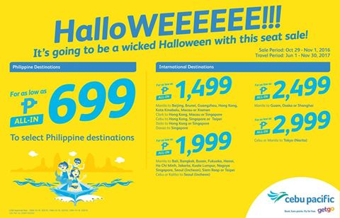 Cebu Pacific SEAT SALE October 2016