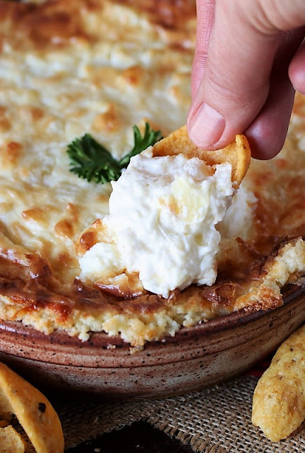Scoop of Warm Baked Onion Souffle Dip Image