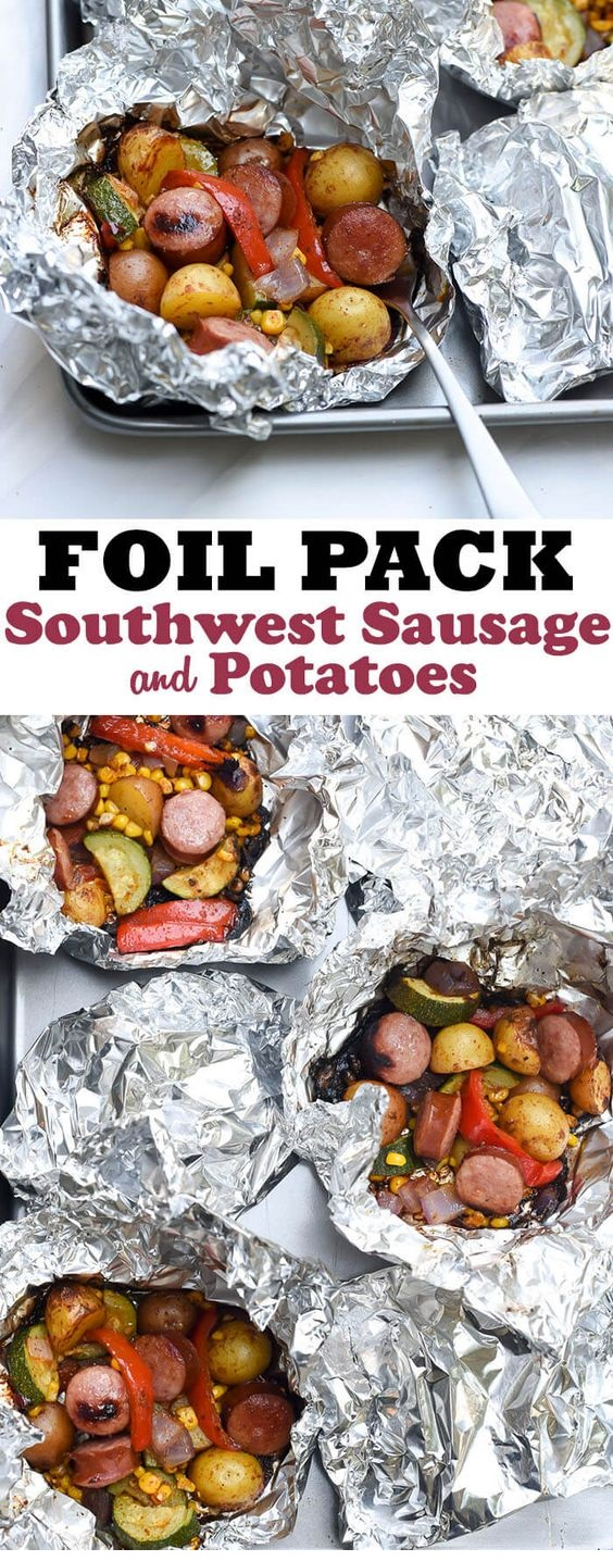 Foil Pack Southwest Sausage And Potatoes