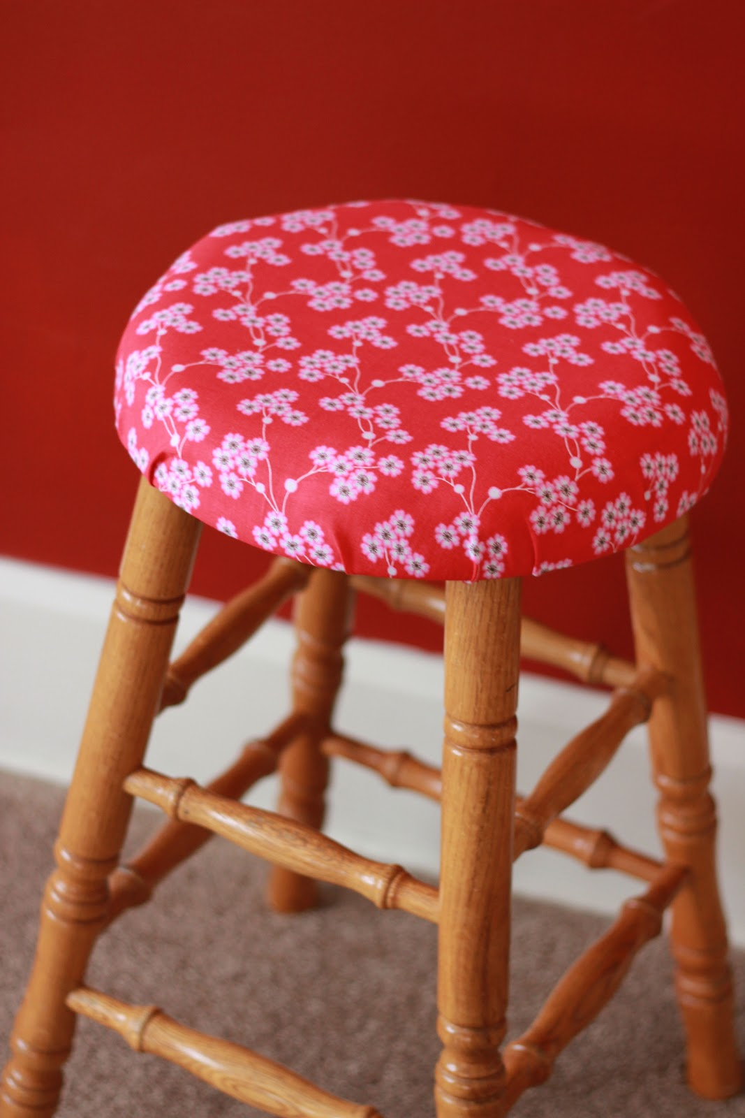 Add Foam And Fabric To A Bar Stool Dina S Days