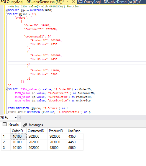 SQL Server 2016 - OPENJSON read nested JSON and Insert INTO Tables