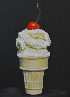 Small realist acrylic painting of vanilla ice cream cone with a cherry