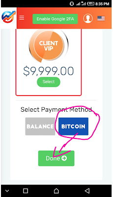 Making payment with bitcoin in Bitclub