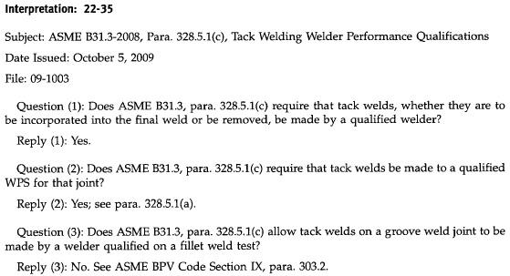 ASME B31 3 - Interpretations [1] - Welder Related - MECHANICAL