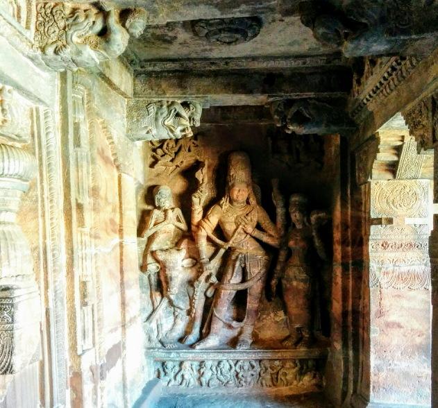 Hari Hara statue at Badami cave temple, Karnataka