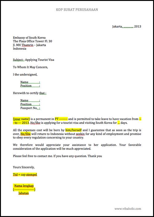 Contoh Surat Keterangan Kerja Visa Amerika Lowongan Kerja