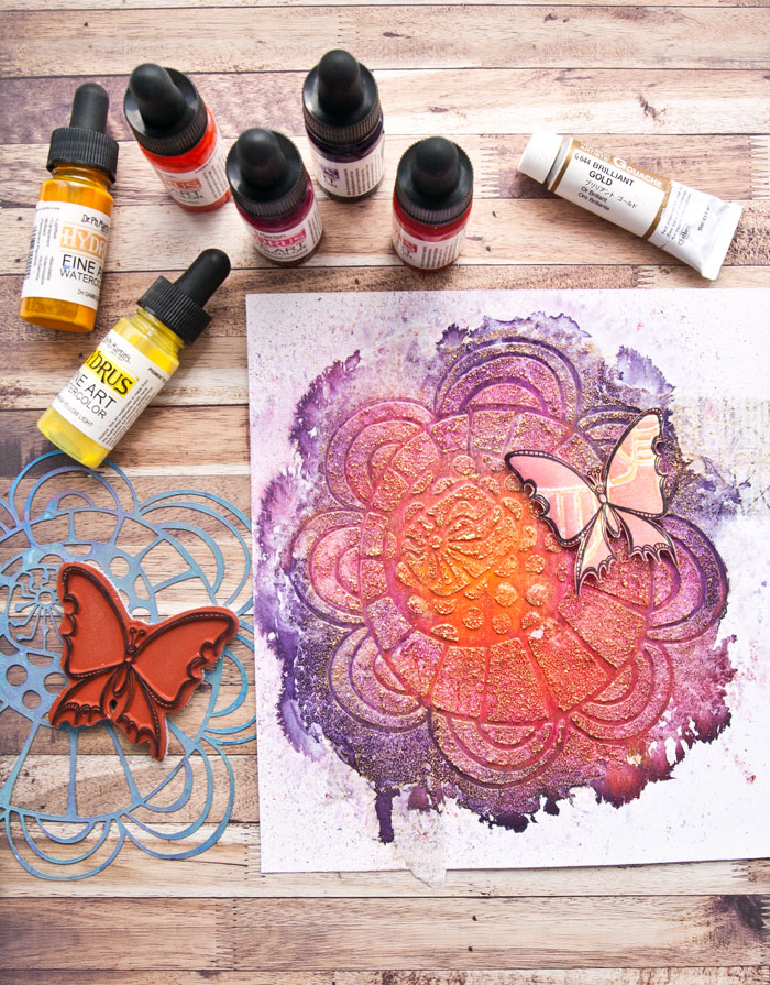 Try this easy watercolor mixed media flower art project with video by Kim Dellow.