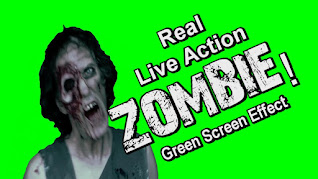 A photo of a zombie against a green background with text reading, real live action zombie green screen.