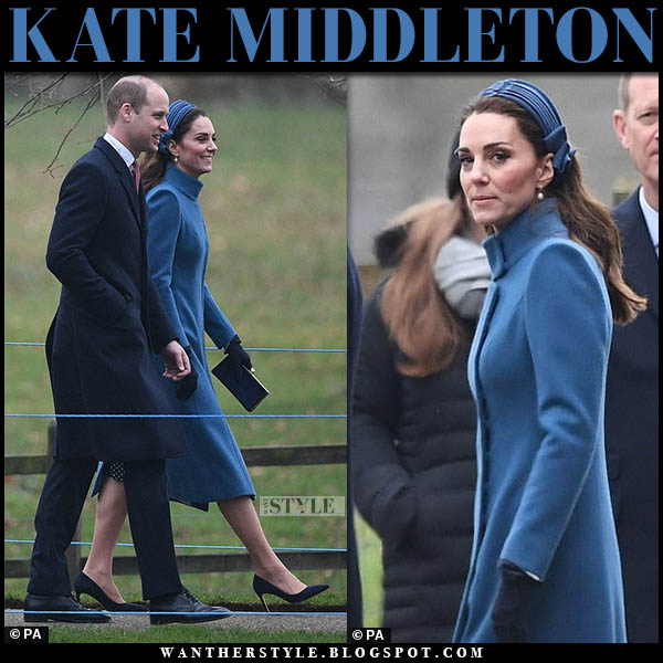 Kate Middleton in teal high neck coat and suede prada pumps royal family church january 6