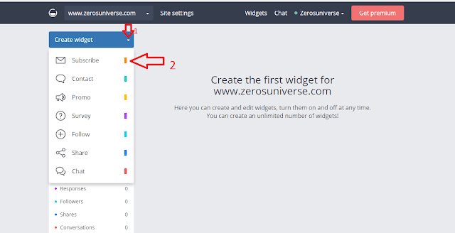 On next page, click on that green Create Widget' button and choose 'Subscribe' from the drop-down.