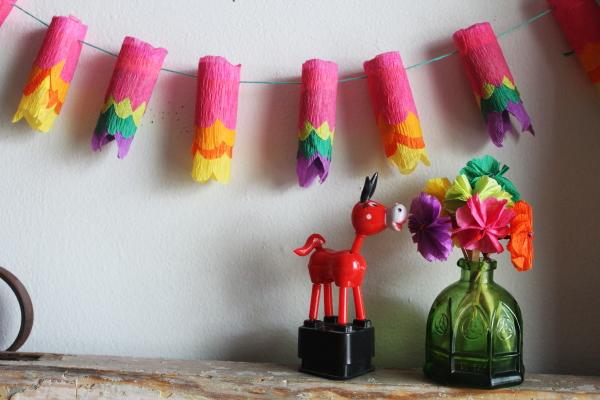 Fiesta Diy Tiny Crepe Paper Lantern Garland