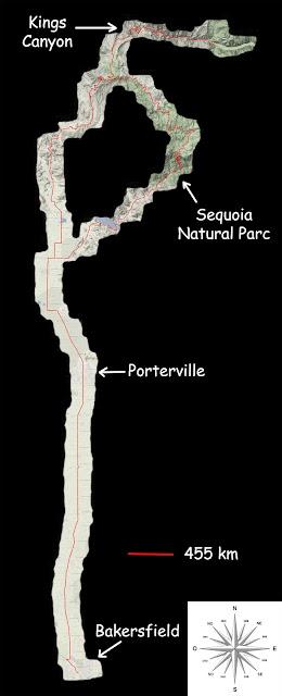 Mon parcours de Porterville à Bakersfield