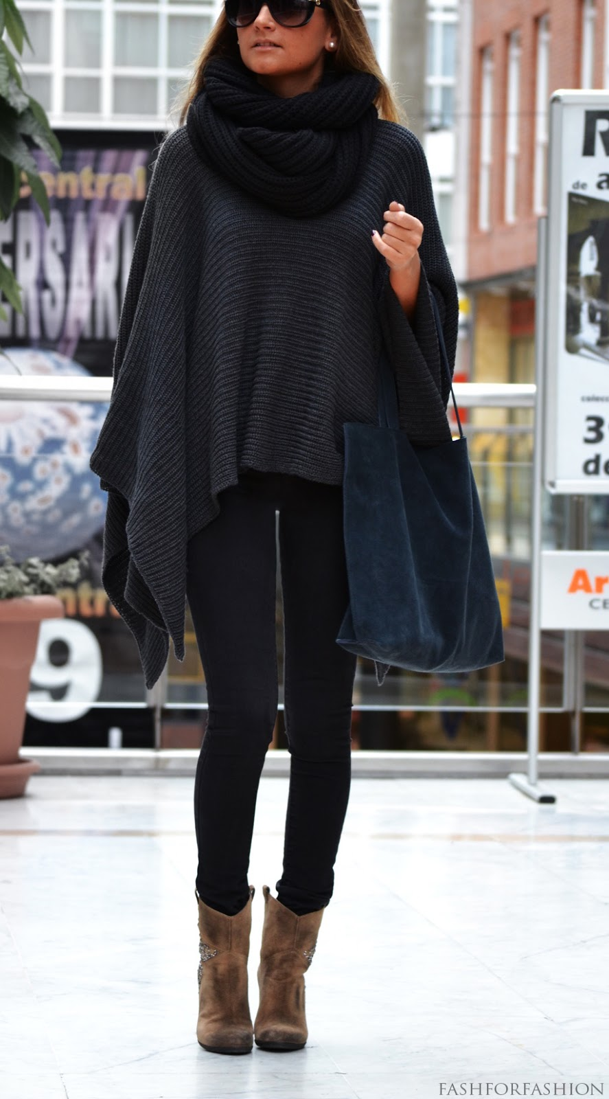 Poncho and Ankle Boots