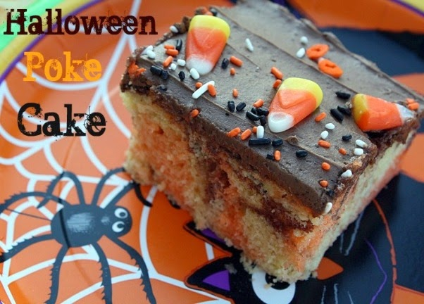 this halloween poke cake starts with a marble cake mix infused with orange jell o and topped with a homemade milk chocolate frosting this