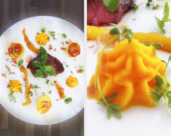 By Guldahl: Grillet oksemørbrad med gulerodspuré, grillede peberfrugter og kartoffelfondant