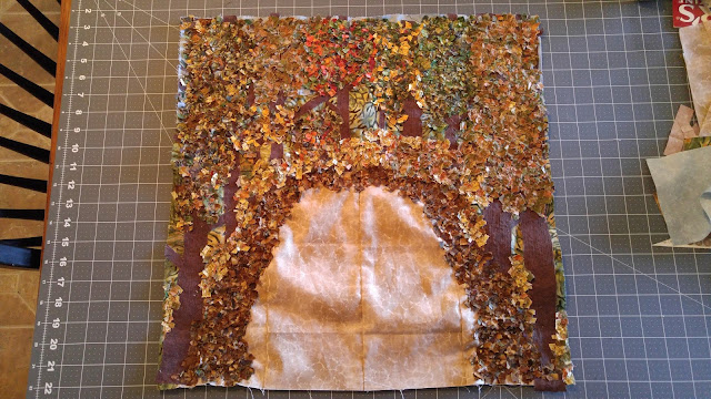 Missouri fall autumn leaves deer art mini quilt