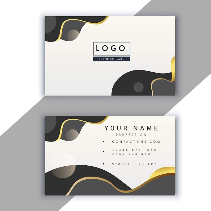 Business card template modern bright abstract curves decor Free vector