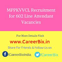 MPPKVVCL Recruitment for 602 Line Attendant Vacancies