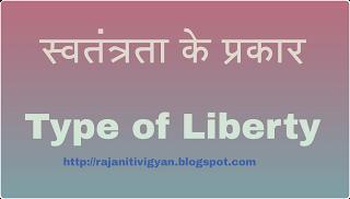 स्वतंत्रता के प्रकार, type of Liberty in hindi