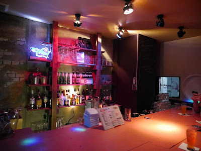 Bar lights at gay bar G Physique, Osaka, Japan.