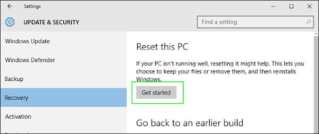 pilihan reset this PC untuk mulai mereset