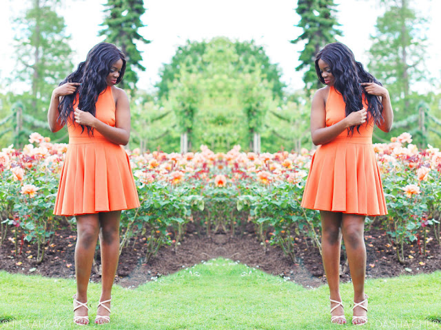 orange halterneck boohoo dress