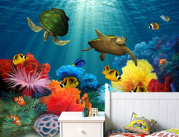 Aquarium Tapetti Turtles Vedenalainen Kalat Aquarium Valokuvatapetti