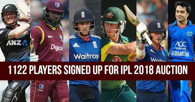 1122 players signed up for VIVO IPL 2018 Player Auction